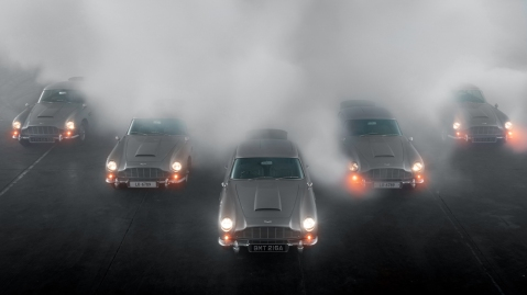 Aston Martin photographs five of its DB5 Goldfinger Continuation cars together.