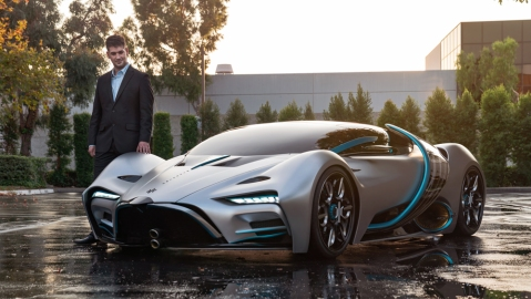 Angelo Kafantaris, Hyperion Motors CEO, next to the hydrogen-powered Hyperion XP-1 hypercar.