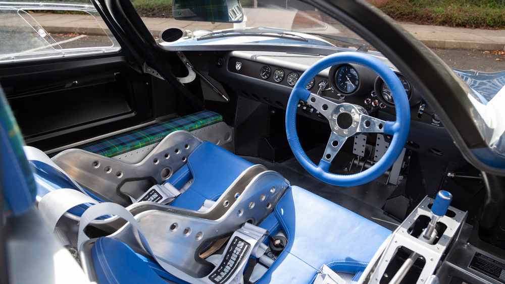 The interior of the Ecurie Ecosse LM69 sports car from Design Q.