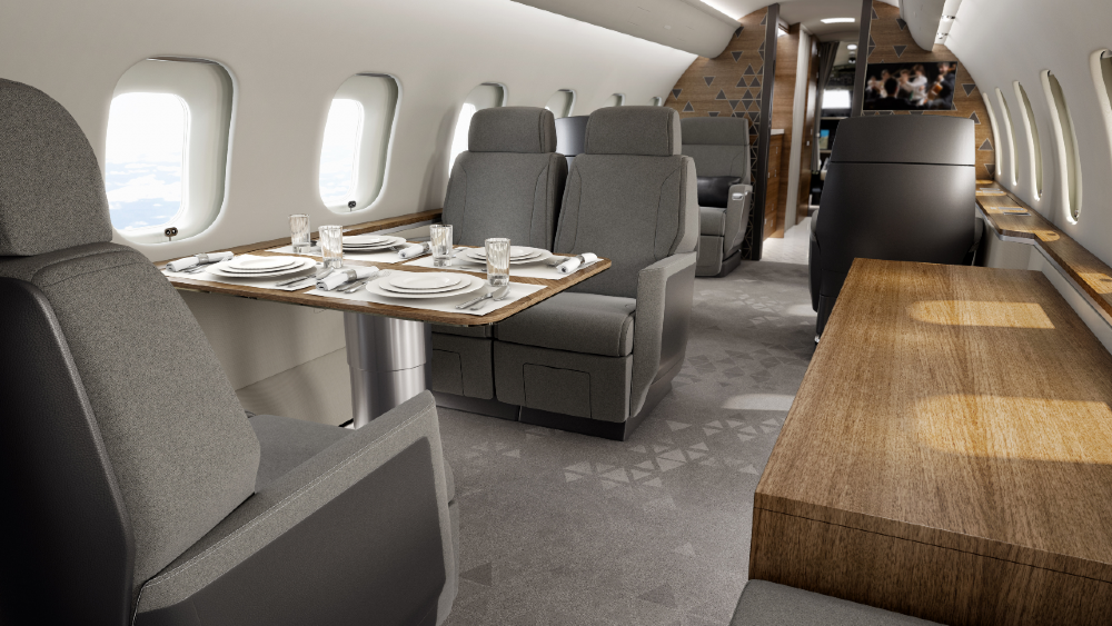 The Bombardier Global 5500 business jet has a large conference center among many other features