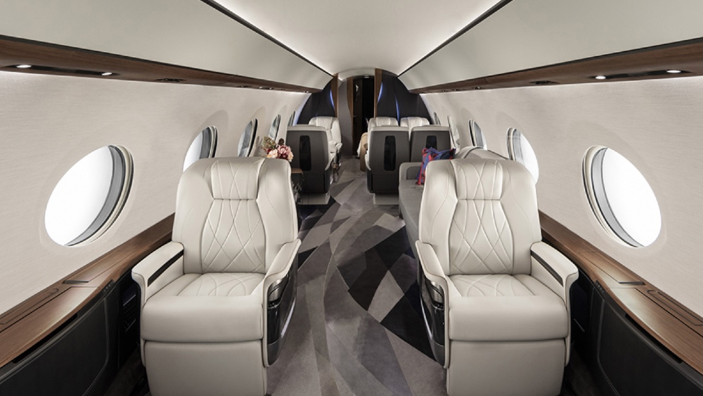 The Gulfstream G700 is divided into six zones, including a bedroom at the very rear.
