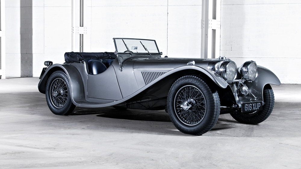 An example of the SS Jaguar 100 automobile.
