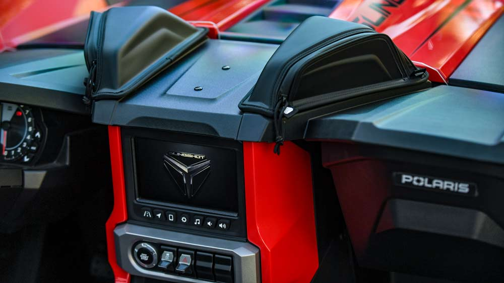 An interior detail of a 2021 Polaris Slingshot.