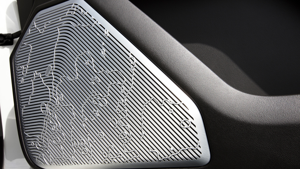 Detailing on the speakers inside the the 2022 GMC Hummer EV.