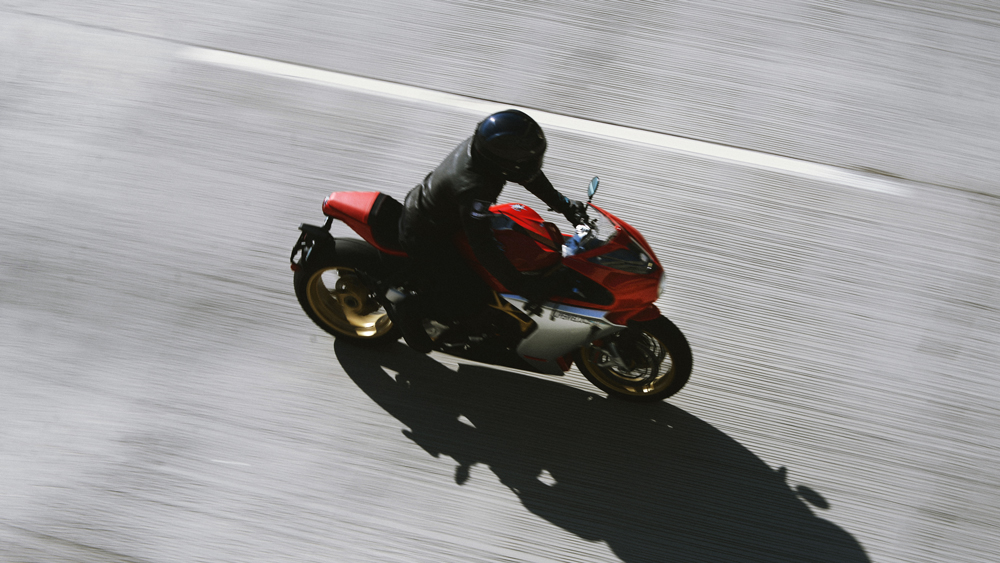 Riding the MV Agusta Superveloce motorcycle.
