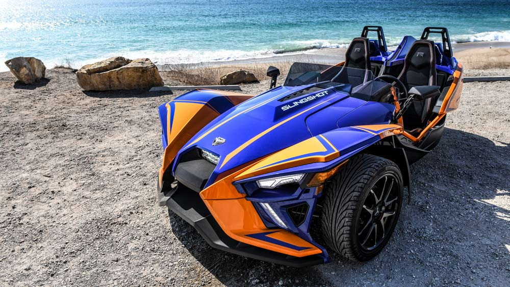 A 2021 Polaris Slingshot R in Malibu.