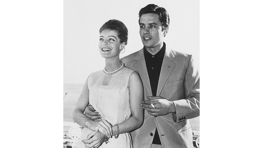 Romy Schneider and Alain Delon during the 15th International Cannes Film Festival. Cannes, FRANCE - 05/1962