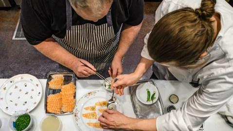 james trees vegas chef plating salmon