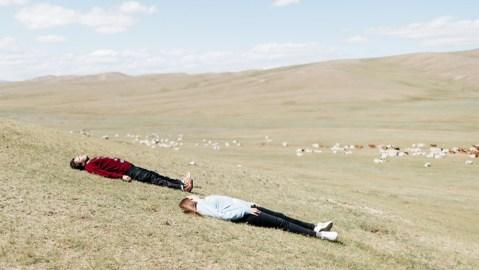 Models wear Leret Leret sweaters on the Mongolian steppes.