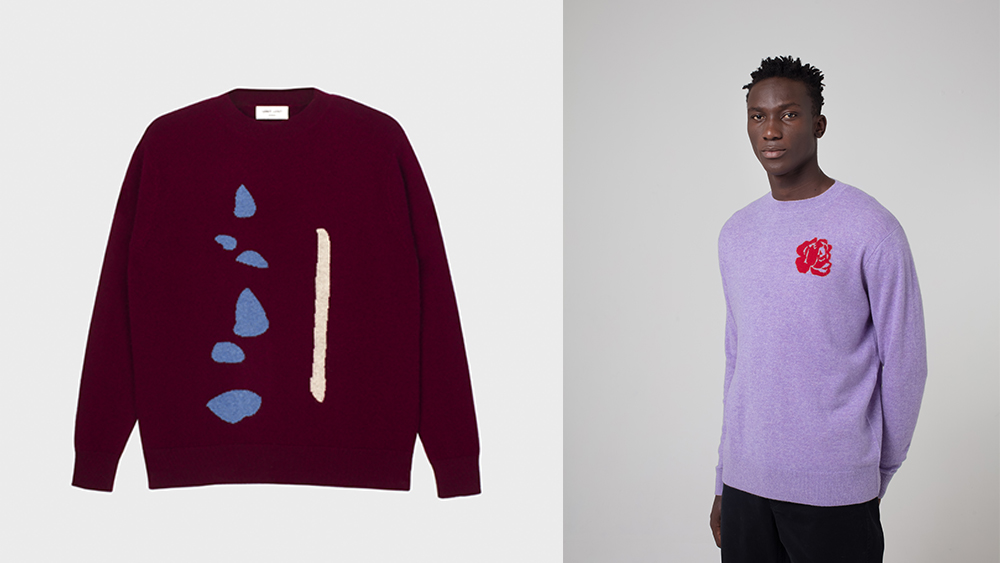 Leret Leret's playful riffs on the cashmere crewneck sweater, $475 each.