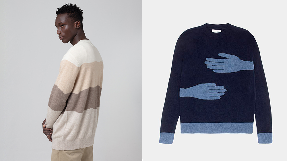 A sweater in various shades of natural, undyed cashmere from various goat breeds. Right, a sweater from Leret Leret's collaboration with Angelica Hicks.