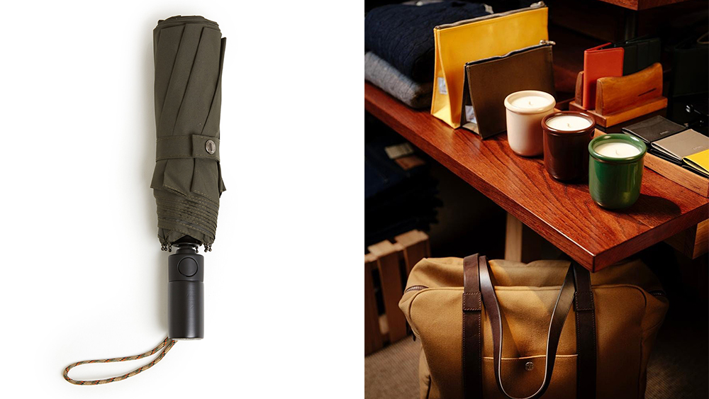 London Undercover compact umbrella ($45); a selection of accessories at Trunk.