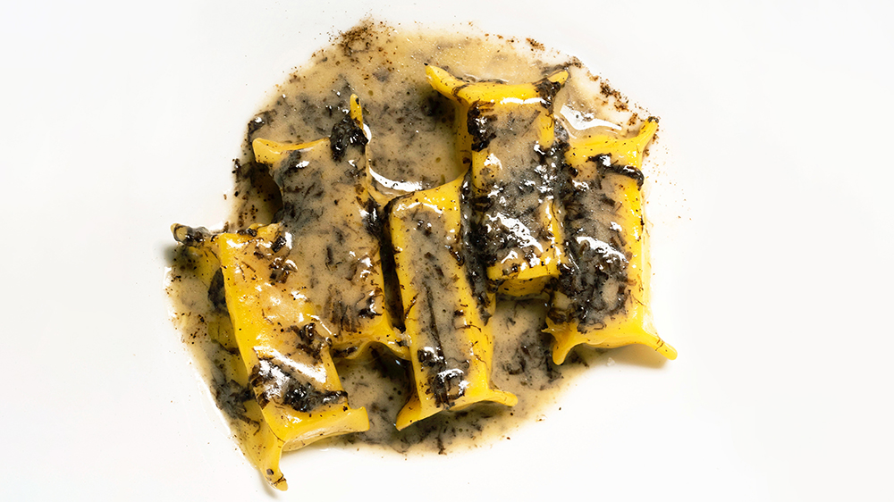 Mozzarella Ravioli with Black Truffle Fondue from the Nougatine menu