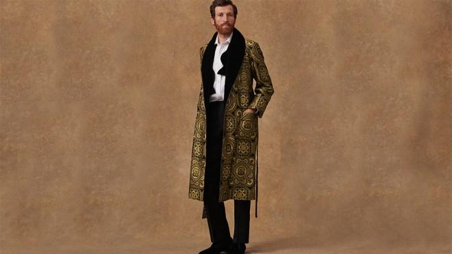 A model wears a New & Lingwood dressing gown.