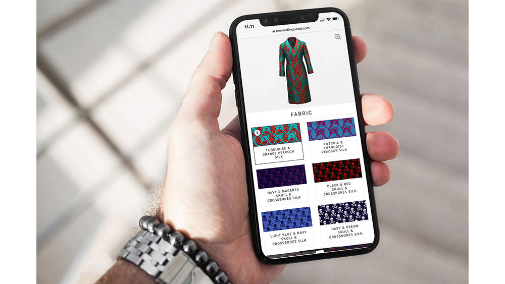 Made-to-measure on the go with New & Lingwood's digital customization tool.
