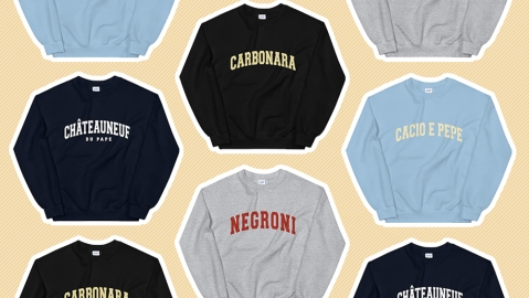 An array of Novel Mart's epicurean sweatshirts.