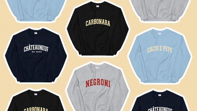 An array of Novel Mart's epicurean sweatshirts.