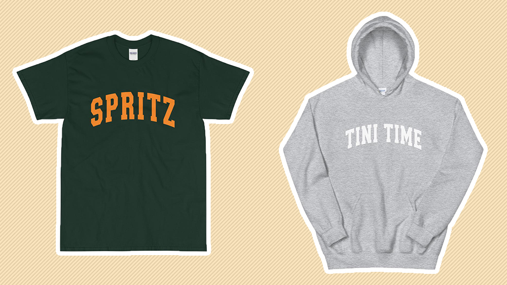Cocktail attire: 'Spritz' tee (£35) and 'Tini Time' hoodie (£50).