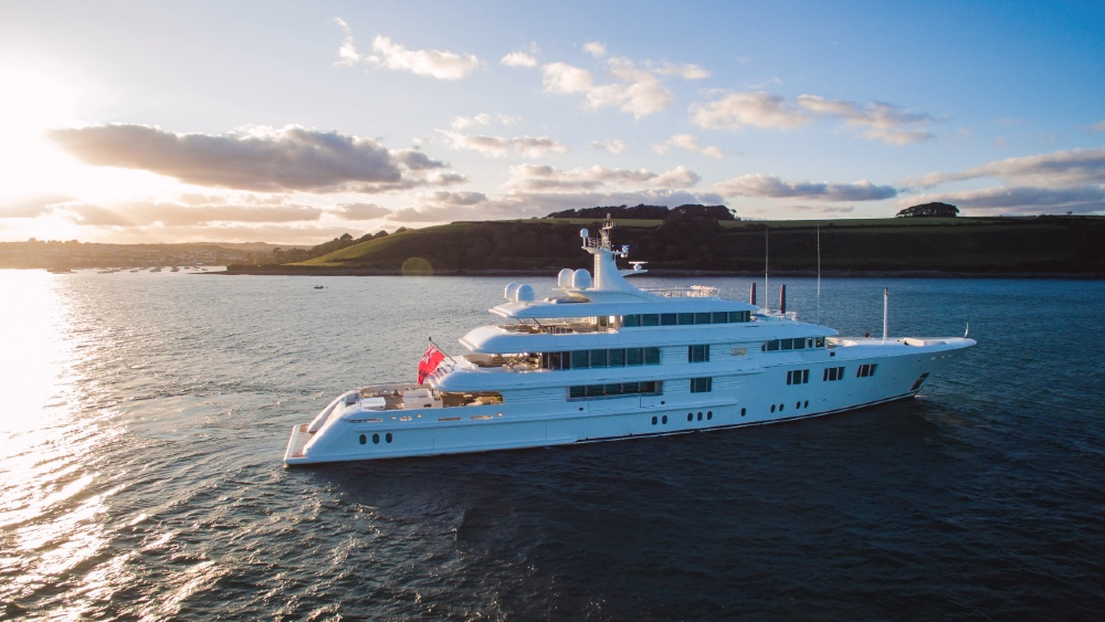 With a new swim platform adding 20 feet to her length, 'Lady E' will spend the next year touring the world with the owners' large family.