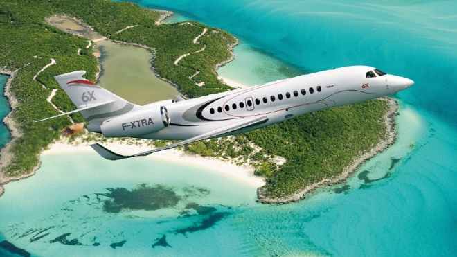 The new Dassault Falcon 6X business jet has the largest size in its class