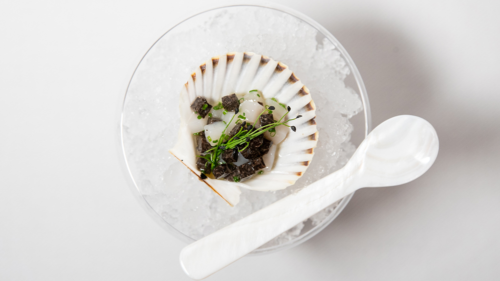 Diver Scallops and Black Truffle Tartare with Chives from the Fulton
