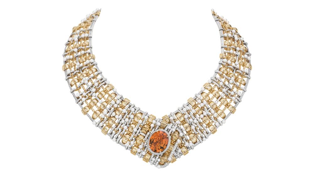 Chanel tweed necklace