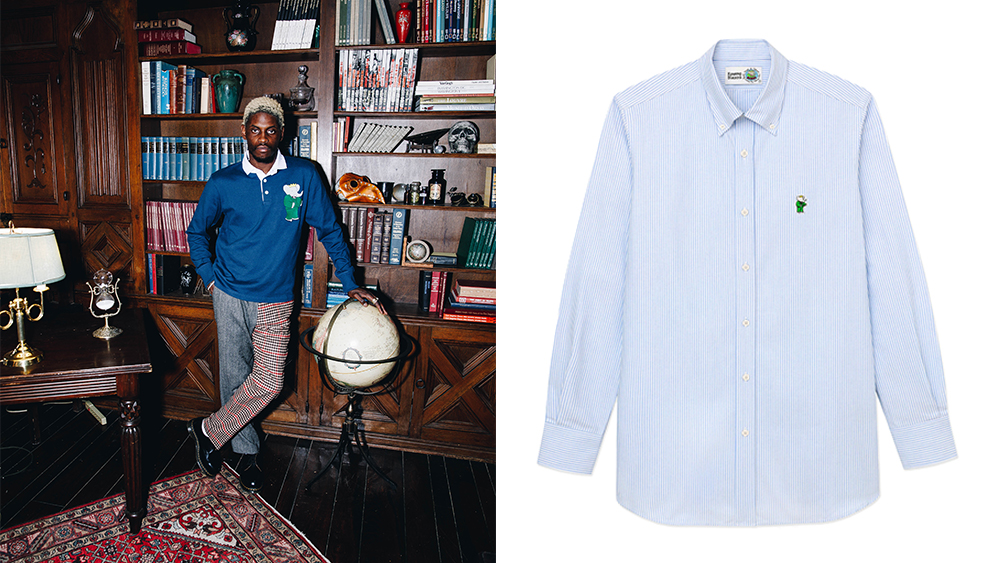 A$AP Nast wears a rugby shirt and trousers from the collaboration; a Babar-branded oxford shirt.
