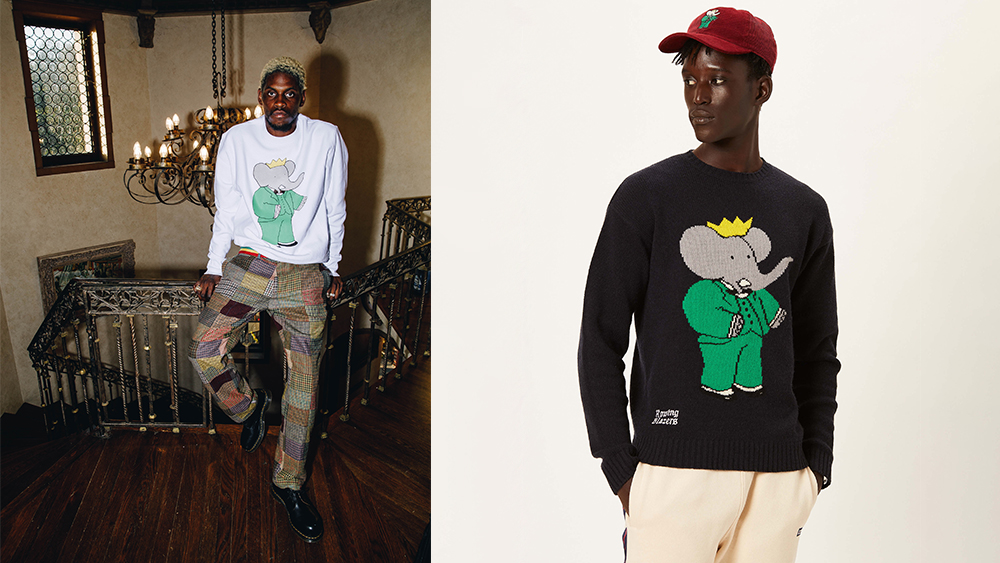 A$AP Nast in a sweatshirt and trousers; a cap and sweater from the collection.