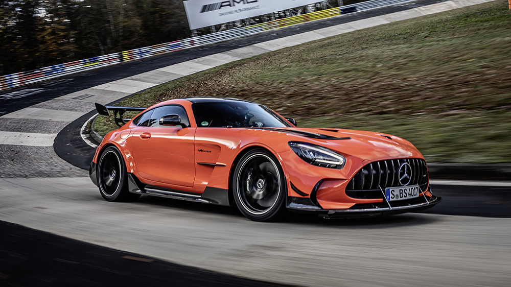 The 2021 Mercedes-AMG GT Black Series circling the Nürburgring Nordschleife earlier this fall