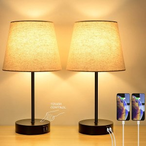 Bosceos Three-Way Touch Dimmable Table Lamp Set