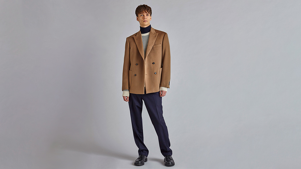 A model wears a cashmere-wool double-breasted jacket from Casely-Hayford's fall collection.