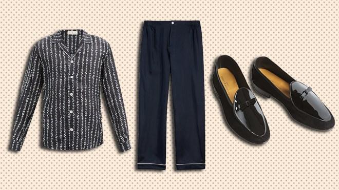SMR Days silk shirt, Sleepy Jones pajama pants, Beaudoin & Lange loafers