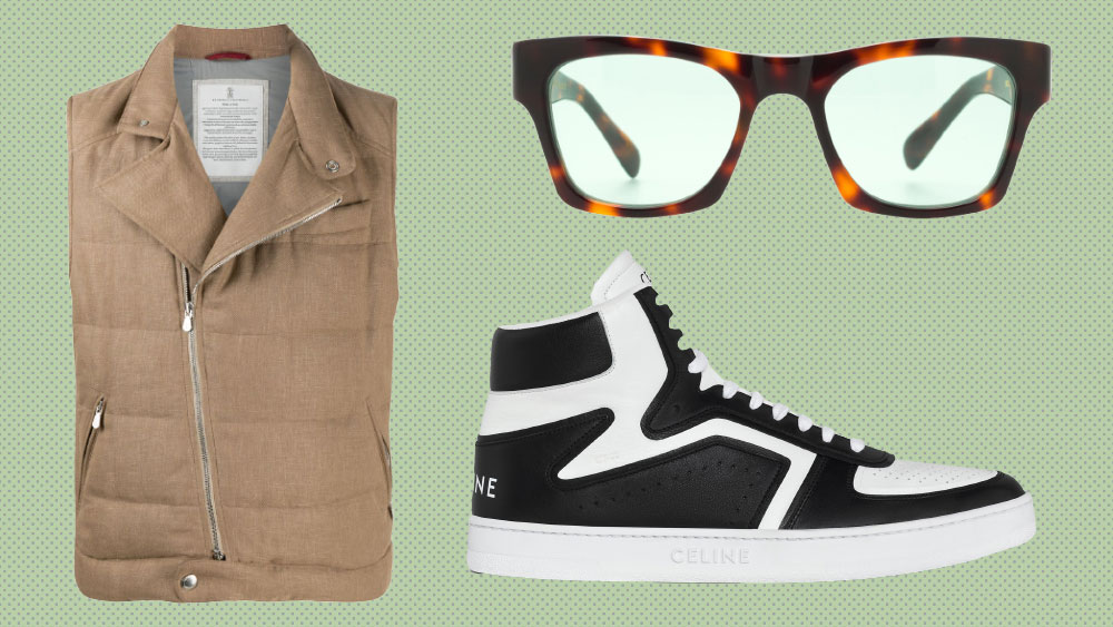 Brunello Cucinelli vest, The Reference Library sunglasses, Celine sneakers