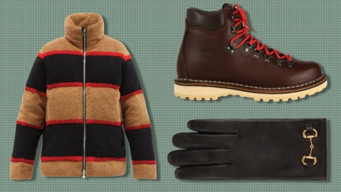 Burberry jacket, Diemme boots, Gucci gloves