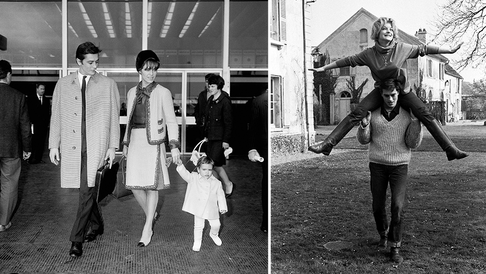 Delon and his family arriving in Rome in 1965. Right, Delon with then fiancée Romy Schneider in 1959.