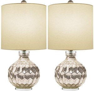 Eurus Homes Mercury Glass Table Lamp Set