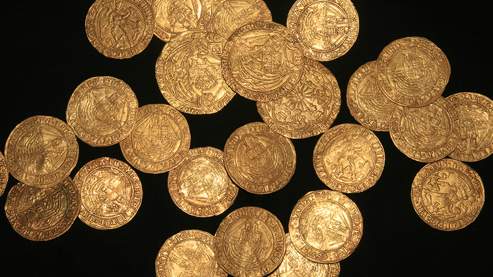 A hoard of 63 gold coins and one silver coin dating back to the 16th century