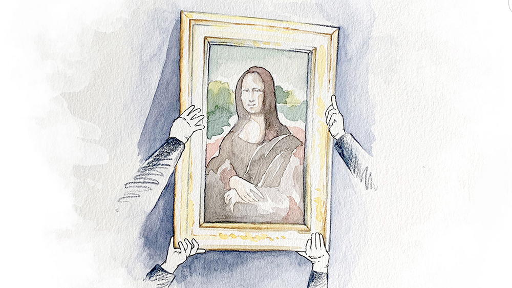 An illustration of the Mona Lisa undergoing its annual examination