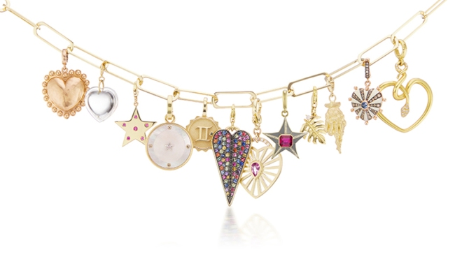 An assortment of charms from Muse's Have a Heart initiative.