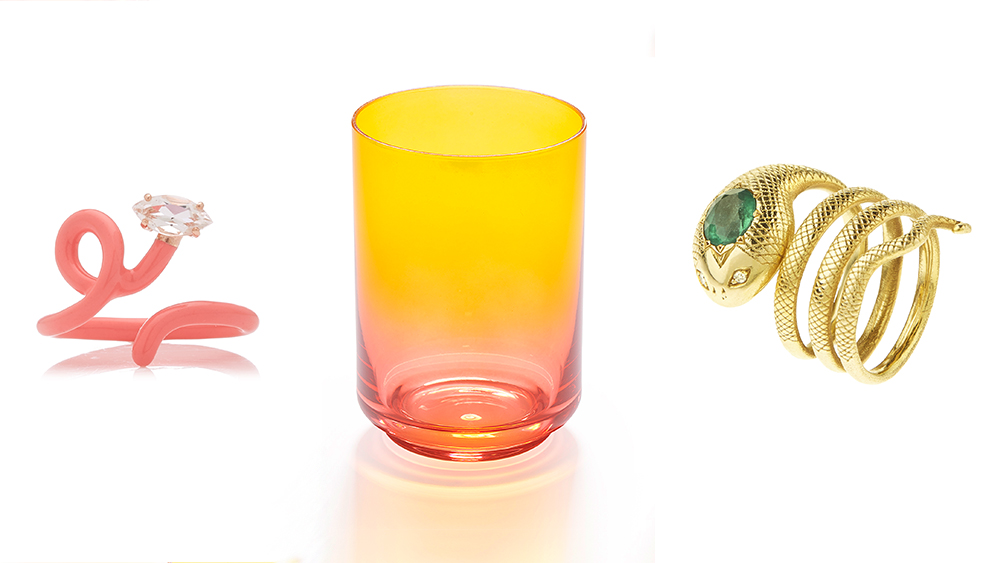 Bean Bongiasca enamel and rock crystal 'Tendril' ring, Lateral Objects gradient tumbler, Christina Alexiou emerald ring.