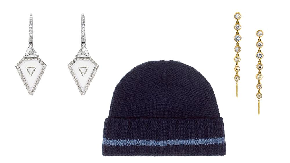 Nikos Koulis diamond and enamel earrings, Leret Leret cashmere beanie, Jenna Blake diamond earrings.