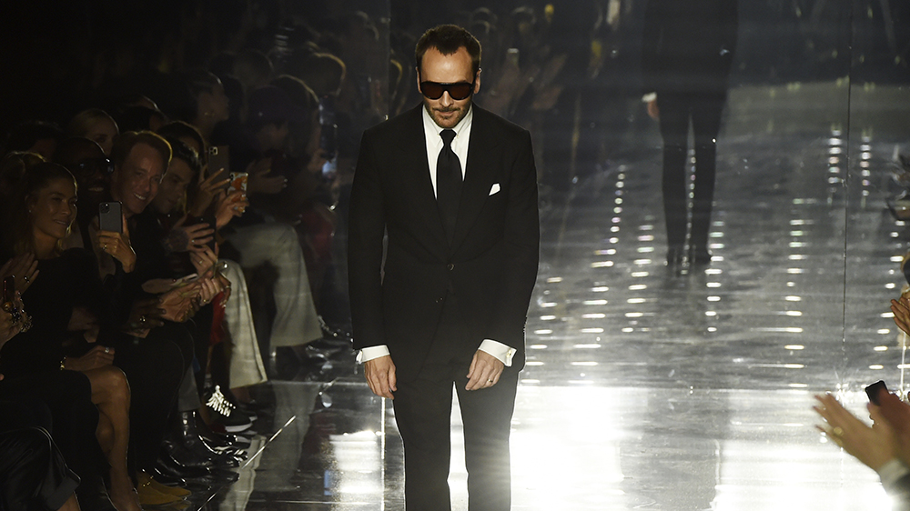 Designer Tom Ford takes a bow at the close of the NYFW Fall/Winter 2020 - Tom Ford fashion show at Milk Studios, Friday, Feb. 7, 2020, in Los Angeles. (AP Photo/Chris Pizzello)