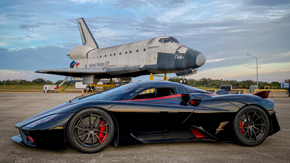 The SSC Tuatara at the Kennedy Space Center's Johnny Bohmer Proving Grounds.