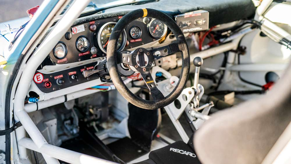 The cockpit of the 1980 Porsche 935 JLP-2 offered in a private sale through RM Sotheby's.