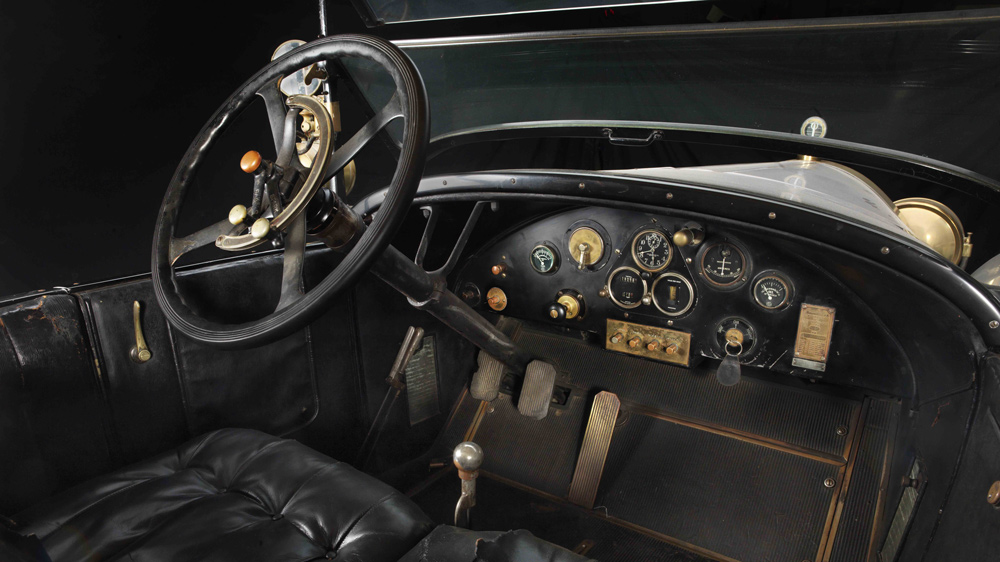 The interior of a 1923 Locomobile Model 48 Series 8 Sportif that's in the Brumos Collection car museum.