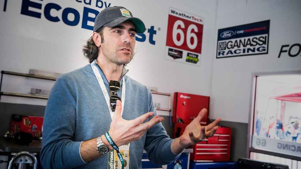 Dario Franchitti in the Chip Ganassi Team's garage prior to the 2018 Rolex 24 at Daytona.