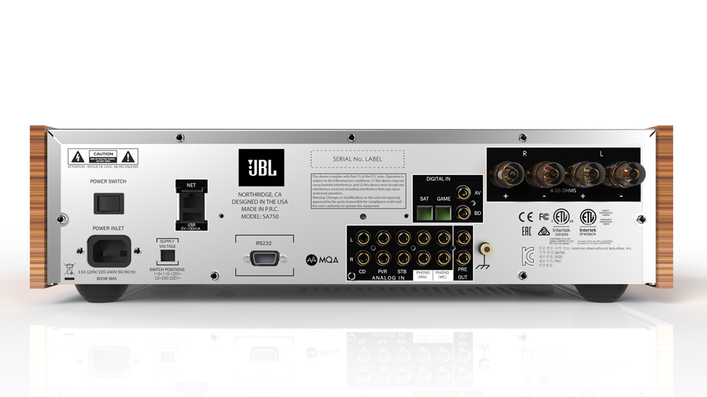 The back of JBL's SA750 Integrated Amplifier.