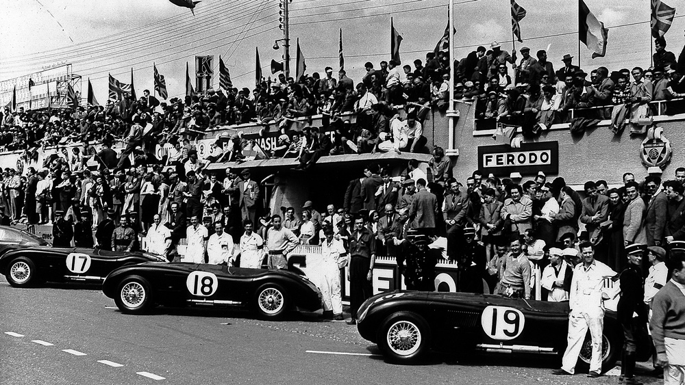 Jaguar's works C-type racing team before the start of the 24 Hours of Le Mans in 1953.