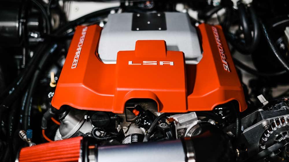 The 600 hp, supercharged LSA V-8 engine inside one of Osprey's recent Defender 110 makeovers.