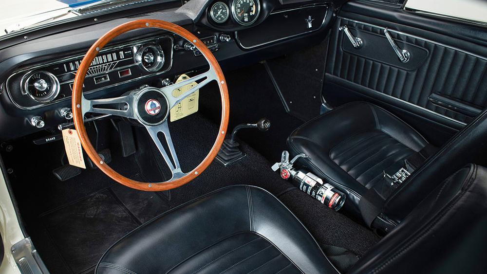 The original interior of a pristine 1965 Shelby GT350.